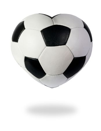 soccer background: Heart as black white soccer ball on the white background, to the day of Sainted Valentine