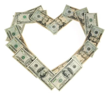 Heart of the money on the white background, to the day of Sainted Valentine photo