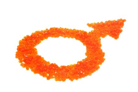 Red caviar as a symbol of man a woman on the white background, to the day of Sainted Valentine photo