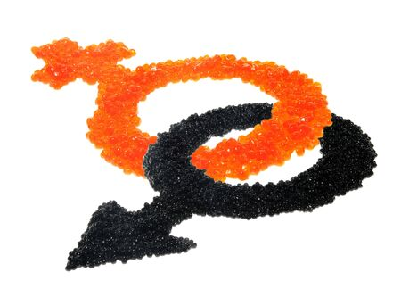 entwine: Red and black caviar as a symbol of man a woman on the white background, to the day of Sainted