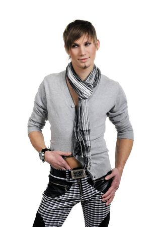 Fashion men pants, a shirt with the white background photo