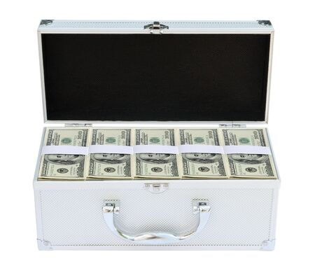 Suitcase full of American money on the white background photo