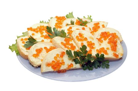 Sandwich with red caviar on the plate on the white background Stock Photo - 6533803