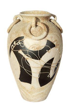 ollas de barro: vaso de arcilla decorativa beige sobre el fondo blanco Foto de archivo