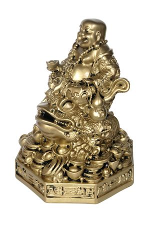 Statuette of Hotei (Buddha) to the toad on the white background photo