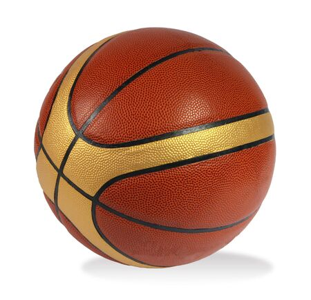 Brown basket-ball ball on the white background photo