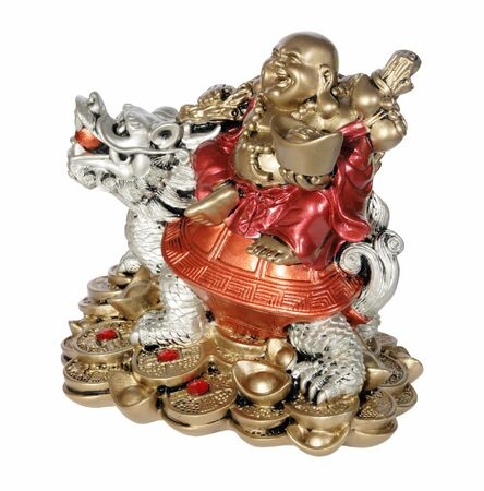 lucky charm: Statuette of Hotei (Buddha) to the dragon on the white background
