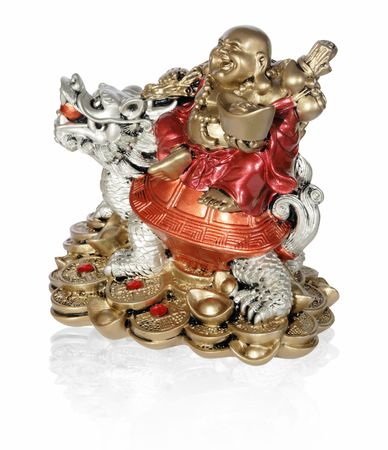 Statuette of Hotei (Buddha) to the dragon on the white background