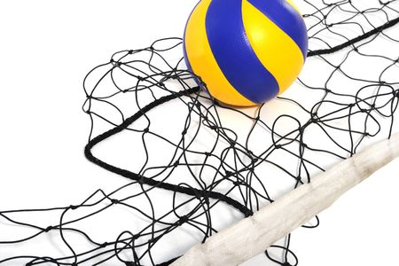 Volleyball ball and volleyball net în the white background