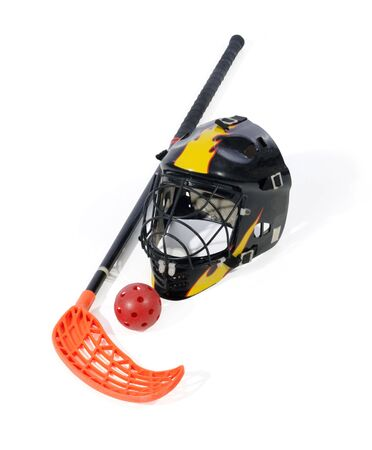 floorball stick, helmet and ball on the white background photo