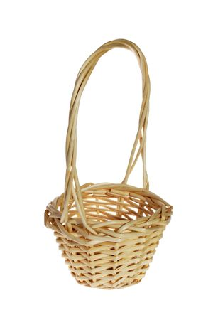 Brown wicker basket on the white background photo