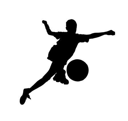 coup de pied: Gar�on avec un ballon de soccer, footballeur sur le fond blanc. (isol�)