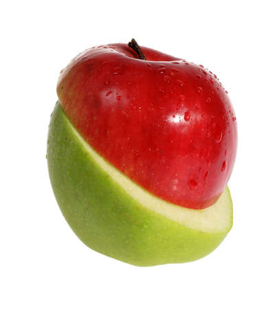 slit: Slit red and green apple on the white background