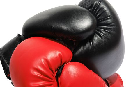 Red and black boxing-gloves on the white background. (isolated) photo