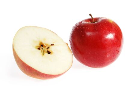slit: Slit red apple on the white background  Stock Photo