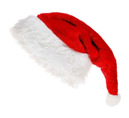 red Santa Claus hat on white background  Imagens