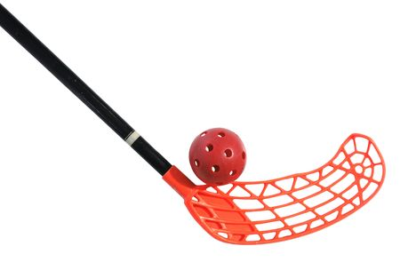 old floorball stick and ball on the white background Imagens
