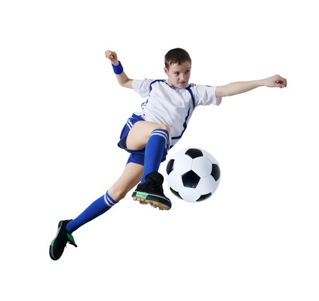 soccer players: Boy with soccer ball, Footballer on the white background. (isolated)