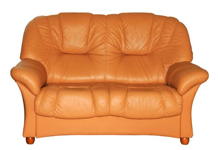 Brown leather sofa on the white background photo