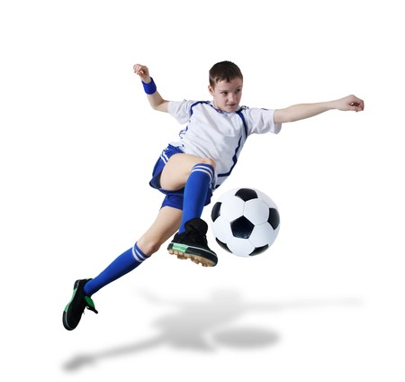 team winner: Boy with soccer ball, Footballer on the white background. (isolated)