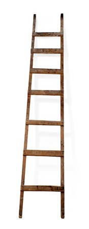 Old wooden ladder on the white background Stock Photo