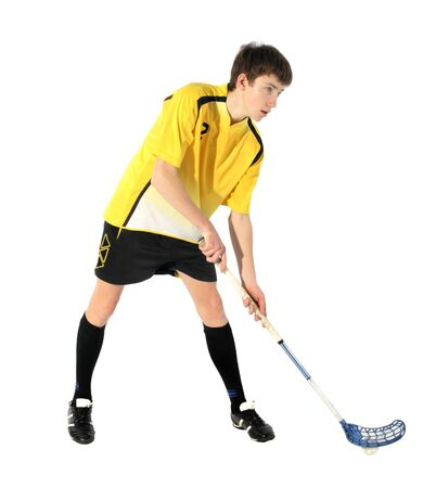 floorball player on the white background Stock Photo - 7103925