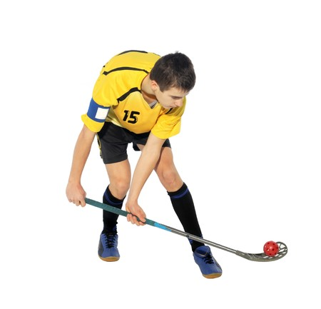 floorball player on the white background Stock Photo - 7103929