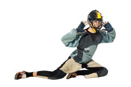 floorball goalkeeper on the white background Stock Photo - 7103972