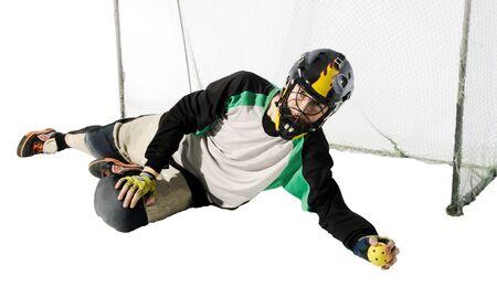 floorball goalkeeper on the white background Stock Photo - 7104005
