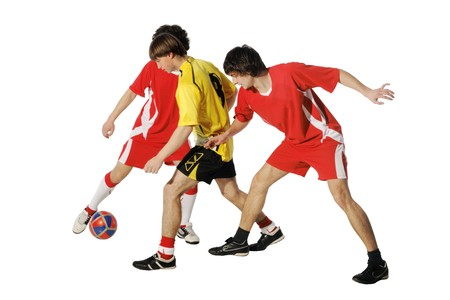 Boys with soccer ball, Footballers on the white background. (isolated) Stock Photo