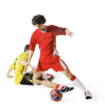 world player: Boy with soccer ball, Footballers on the white background. (isolated)