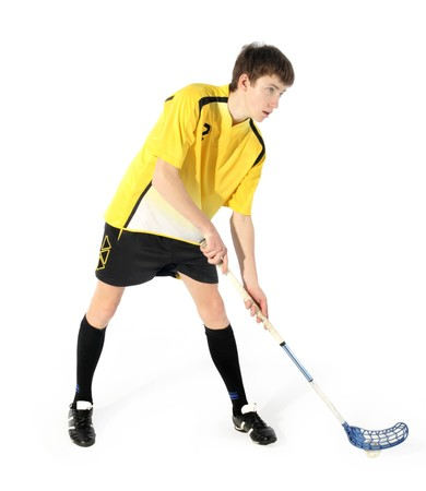 floorball player on the white background Stock Photo - 7173001