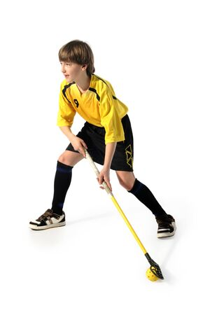 floorball player on the white background