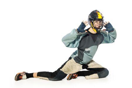 floorball goalkeeper on the white background Stock Photo - 7173067