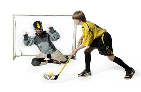 floorball player and goalkeeper on the white background photo