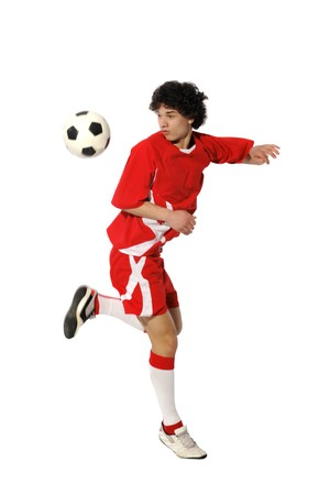 teens playing: Boy with soccer ball, Footballer on the white background. (isolated)