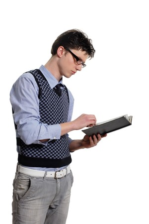 young student with a book isolated on a white background