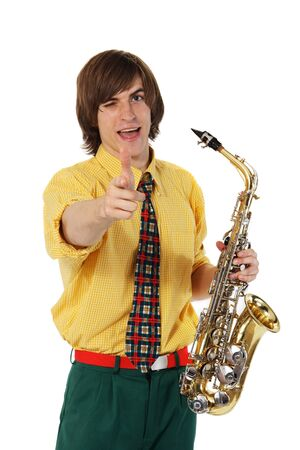 Man with a sax musical instrument on tne white background photo