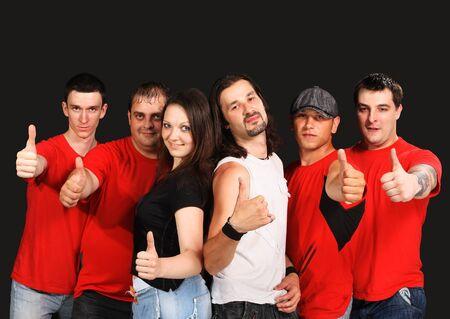 Rock band on the black background photo