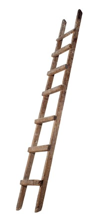 climbing ladder: Old wooden ladder on the white background Stock Photo