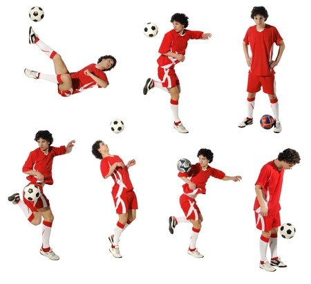 kids feet: Boy with soccer ball, Footballer on the white background. (isolated)