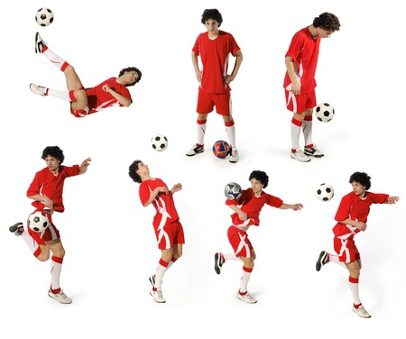 Boy with soccer ball, Footballer on the white background. (isolated)