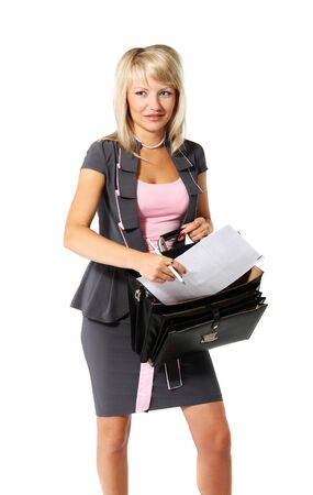 Young beautiful girl, a businesswoman with a briefcase on the white background photo