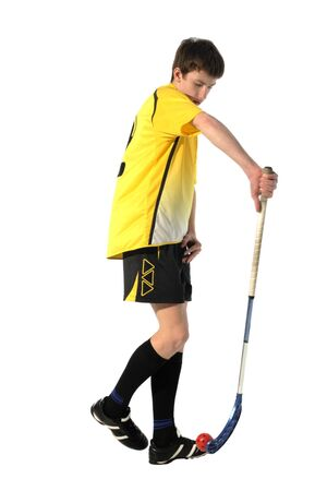 floorball player on the white background Stock Photo - 7758516