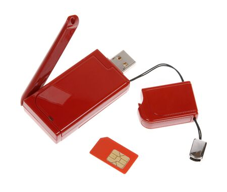 Red modem with USB cable on the white background photo