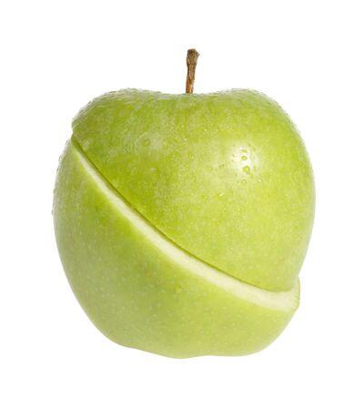 slit: Slit green apple on the white background