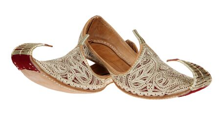 arabic woman: Traditional Arabic shoes over white background