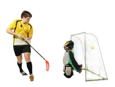 floorball player and goalkeeper on the white background Stock Photo - 8246808