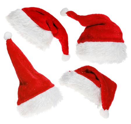 christmas costume: red Santa Claus hat on white background