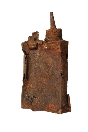 Old rusty metal flask on the white background photo